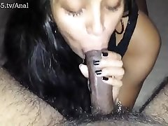 indian sexy beautiful girlfriend in black dress shows her blowjob skills